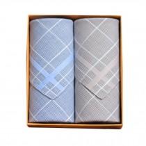 2Pcs Mens Pocket Square Hanky Pure Cotton Soft Handkerchiefs,Blue/Grey