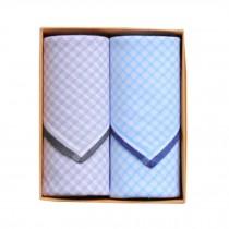 2Pcs Mens Pocket Square Hanky Pure Cotton Soft Handkerchiefs,Praid Blue/Grey