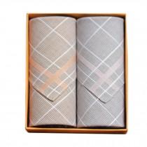 2Pcs Mens Pocket Square Hanky Pure Cotton Soft Handkerchiefs,Coffee/Grey