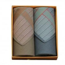 2Pcs Mens Pocket Square Hanky Pure Cotton Soft Handkerchiefs,Retro Green/Brown