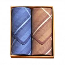 2Pcs Mens Pocket Square Hanky Pure Cotton Soft Handkerchiefs,Silence Brown/Blue