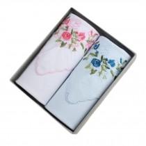 2Pcs Womens Pocket Square Hanky Pure Cotton Flower Handkerchiefs-White/Blue