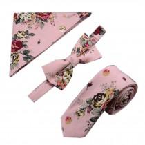 Mens Fashionable Wedding Ties Set Necktie/Bow Tie/Pocket, Flower Pattern