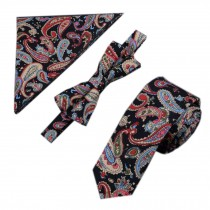 Mens Fashionable Special Pattern Wedding Ties Set Necktie/Bow Tie/Pocket, Black