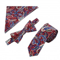 Mens Fashionable Special Pattern Wedding Ties Set Necktie/Bow Tie/Pocket, Red