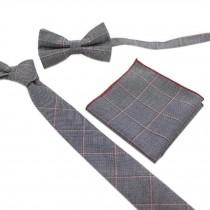 Fashionable Wedding Ties Set Necktie/Bow Tie/Pocket For Men, Grey