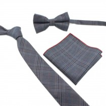 Fashionable Wedding Ties Set Necktie/Bow Tie/Pocket For Men, Deep Grey