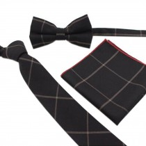 Elegant Wedding Ties Set Necktie/Bow Tie/Pocket For Men, Black