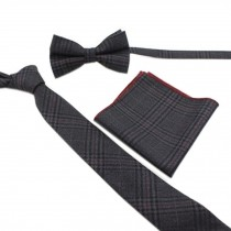 Elegant Wedding Ties Set Necktie/Bow Tie/Pocket For Men, Dark Grey