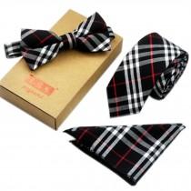 Men's Elegant Plaid Pattern Wedding Ties Set Necktie/Bow Tie/Pocket, Black