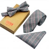 Men's Elegant Plaid Pattern Wedding Ties Set Necktie/Bow Tie/Pocket, Light Grey