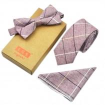 Men's Elegant Plaid Pattern Wedding Ties Set Necktie/Bow Tie/Pocket, Pink