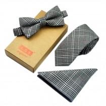 Men's Elegant Plaid Pattern Wedding Ties Set Necktie/Bow Tie/Pocket, Grey