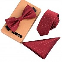 Mens Fashionable Formal/Informal Ties Set, Necktie/Bow Tie/Pocket Red Necktie