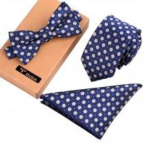 Mens Fashionable Formal/Informal Ties Set, Necktie/Bow Tie/Pocket Square Flower