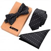 Black Necktie/Bow Tie/Pocket Square Mens Fashionable Formal/Informal Ties Set