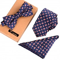 Mens Fashionable Formal/Informal Ties Set Necktie/Bow Tie/Pocket Square Navy/Red