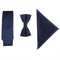 Britain High-grade Casual Formal/Informal Necktie Bow Tie Pocket Square Navy