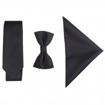 Britain High-grade Casual Formal/Informal Necktie Bow Tie Pocket Square Black