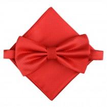 Stylish Wedding Bow Tie Pocket Square Pocket Cloth Handkerchief Red