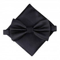 Stylish Wedding Bow Tie Pocket Square Pocket Cloth Handkerchief Black