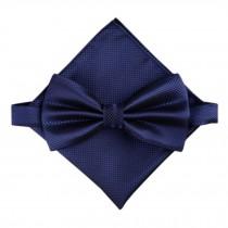Stylish Wedding Bow Tie Pocket Square Pocket Cloth Handkerchief Navy