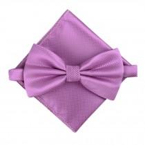 Stylish Wedding Bow Tie Pocket Square Pocket Cloth Handkerchief Purple