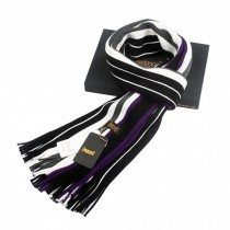 Winter Men's Stylish Cold Scarf Colorful Striped Knitting Long Scarf Purple