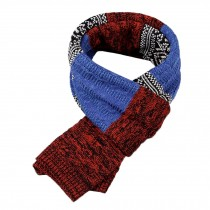 Winter Men's Stylish Scarf Knitting Long Scarf Colorant Match Scarf Blue & Red