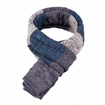 Winter Men's Stylish Scarf Knitting Long Scarf Colorant Match Scarf Blue & Gray