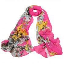 Kylin Express Womens Emulation Silk Chinese Peony Chiffon Shawl Scarve(Rose Red)