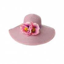 Women's Charming Summer Sun Hat Straw Beach Cap Pink Flower