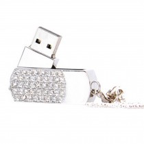 Cute Crystal USB 2.0 Flash Drive Memory Stick SD Card Memory Disk 32GB Silvery