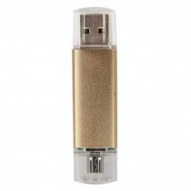 16GB Double Plug Cellphone/PC USB Flash Drive Dual-Purpose Memory Stick Golden