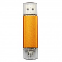 16GB Double Plug Cellphone/PC USB Flash Drive Dual-Purpose Memory Stick Yellow