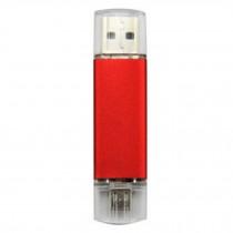 16GB Double Plug Cellphone/PC USB Flash Drive Dual-Purpose Memory Stick Red