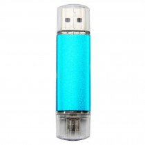 16GB Double Plug Cellphone/PC USB Flash Drive Dual-Purpose Memory Stick Blue