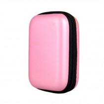 Easy Carrying Storage Bag Rectangle Pink Headphone Earphone Case Bag