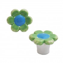 Colorful Flowers 38mm Ceramic Cabinet Knobs Drawer Pull Handles Green 1pcs