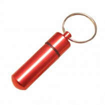Small Compact Medicine Storage Keychain Pill Box Container,red A