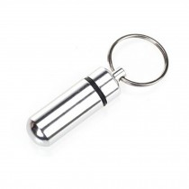 Small Compact Medicine Storage Keychain Pill Box Container,silvery A