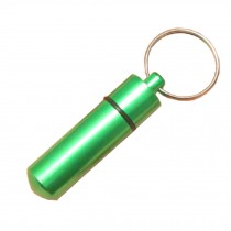 Small Compact Medicine Storage Keychain Pill Box Container,green A