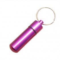 Small Compact Medicine Storage Keychain Pill Box Container,purple A