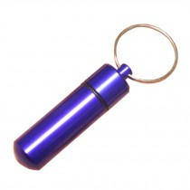 Small Compact Medicine Storage Keychain Pill Box Container,blue A