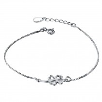 Fashion Eye-Catching 925 Silver Clover Bracelet Charm Bracelets
