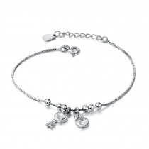 Fashion Eye-Catching 925 Silver Concentric lock Bracelet Charm Bracelets