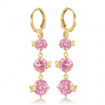 Butterfly Bohemian Style Zircon Earring Ear Stud Wrap Party Pink