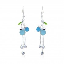 Lovely Cherry Rhinestone Earring Dangle Earrings Wrap Party Blue