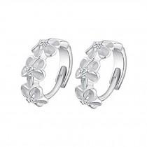 Set Of 2 Women Sterling Silver Round Cubic Stainless Steel Hoop Flower Earrings