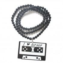 Hip-Hop Fashion I Love Hip-Hop Pendant Ball Bead Chain Necklace